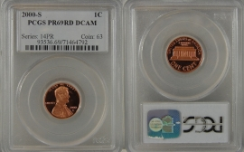2000-S PROOF LINCOLN CENT PCGS PR69RD DCAM