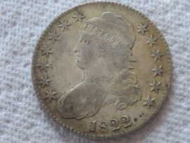 1822 CAPPED BUST HALF DOLLAR Higher Grade Very Fine with Beautiful Golden Patina